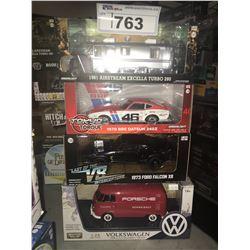 4 NEW IN BOX MODEL CARS: 1981 AIRSTREAN EXCELLA TURBO 280, 1970 240Z, 1973 FALCON XB, TYPE-2