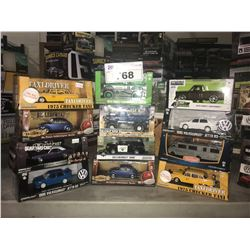 12 NEW IN BOX MODEL/TOY CARS:  JETTA, 1974 F-250 MONSTER TRUCK, 1975 TAXI, & MORE