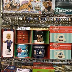 ASSORTED NEW IN PACKAGING 6 CHRISTMAS MUGS & DON CHERRY BOBBLE HEAD