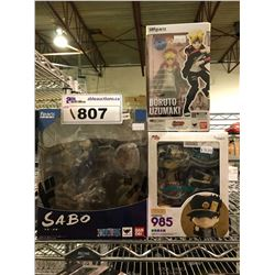 3 NEW IN PACKAGING ANIME TOYS: ONE PIECE, BORUTO, & JOTARO KUJO