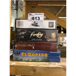 4 NEW IN BOX GAMES: EL DORADO, THE RED DRAGON, FIREFLY THE GAME, & DICE DERBI