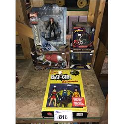 5 NEW IN PACKAGING TOYS: BAT-GRIL, BLACK WIDOW, SPIDERMAN, AVENGERS, PRIMAL AGE