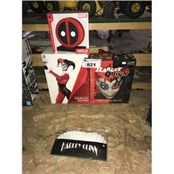 5 NEW IN BOX/PACKAGING COLLECTIBLES: HARLEY QUINN FIGURE, MASK, & WRISTLETS, DEADPOOL BOOKENDS