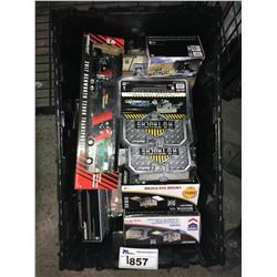 ASSORTED NEW IN PACKAGING TOY CARS & GAS STATIONS(GREENLIGHT) (BIN NOT INCLUDED)