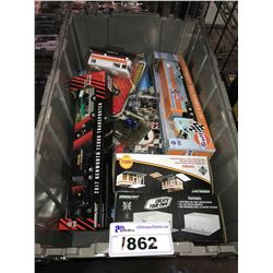 ASSORTED NEW IN PACKAGING TOY CARS, GAS STATION, & GARAGE (GREENLIGHT) (BIN NOT INCLUDED)