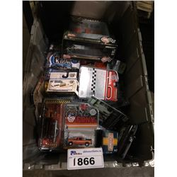 ASSORTED NEW IN PACKAGING TOY CARS, GARAGE (GREENLIGHT) (BIN NOT INCLUDED)