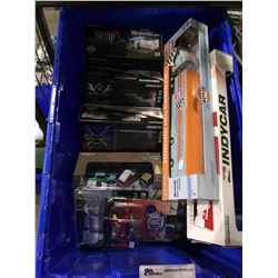 ASSORTED NEW IN PACKAGING TOY CARS, GAS STATION, GARAGE (GREENLIGHT, M2) (BIN NOT INCLUDED)