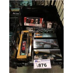 ASSORTED NEW IN PACKAGING TOY CARS, GARAGE, GARAGE TOOL SET, GAS STATION (GREENLIGHT) (BIN NOT