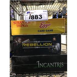 4 NEW IN PACKAGING GAMES: STANGER THINGS EGGO CARD GAME, REBELLION, INCANTRIS, CALL OF CTHULHU