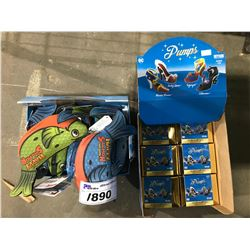 NEW IN PACKAGING HAPPY SALMON GAMES & 4 BOXES OF COLLECTIBLE SUPER HERO PUMPS