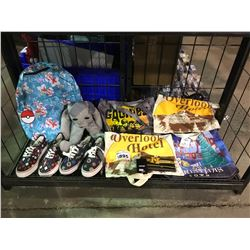 ASSORTED PRODUCTS (MANY NEW WITH TAGS): POKEMON BACKPACK, 2 PAIRS OF SHOES, TOTES, HARRY POTTER