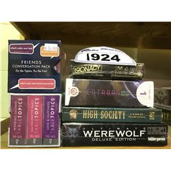 6 NEW IN PACKAGING GAMES: CONVERSATION PACKS, HIGH SOCIETY, ULTIMATE WEREWOLF, RETRO LOONACY,