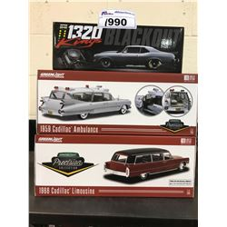 1320 KINGS BLACKOUT 1969 CHEVROLET NOVA, GREENLIGHT 1:18 SCALE 1959 CADILLAC AMBULANCE, GREENLIGHT