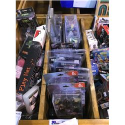 PLAYING DICE, DUNGEON & DRAGON FIGURINES, DUNGEON & DRAGON ADVENTURE CARD EXPANSION PACKS, ETC