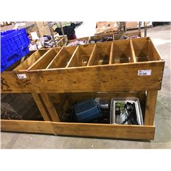 WOODEN ROLLING BIN WITH DIVIDERS
