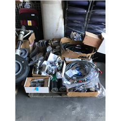 PALLET OF ASSORTED AIRPLANE PARTS: STARTERS, CABLES, HOSES, & MORE