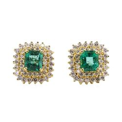3.71 ctw Emerald and Diamond Earrings - 18KT Yellow Gold