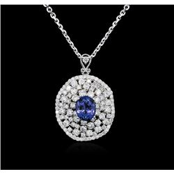 14KT White Gold 3.57 ctw Tanzanite and Diamond Pendant With Chain