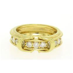 Jose Hess 18kt Yellow Gold 0.75 ctw Diamond Dual Buckle Band Ring
