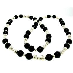 Tiffany & Co. Sterling Silver & Black Onyx Graduated Bead Ball Long 32  Necklace