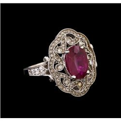 GIA Cert 2.53 ctw Ruby and Diamond Ring - 14KT White Gold