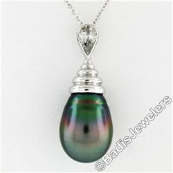 18kt White Gold Tahitian Black Pearl and 0.60 ctw Diamond Pendant Necklace