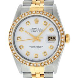 Rolex Mens 2 Tone White Diamond 36MM Datejust Wristwatch