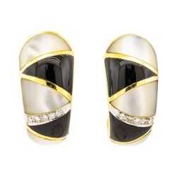 0.10 ctw Diamond, Onyx, and Mother of Pearl Earrings - 18KT Yellow Gold