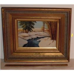 Beautiful Winter River signed by Chris, image framed 11 high x 13 - Belle rivière paysage Hiver