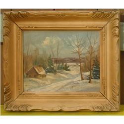 Old Winter Cabin very old painting - très vieille peinture cabine vieille en hiver