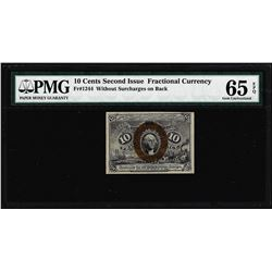 1863 10 Cent Second Issue Fractional Currency Note Fr.1244 PMG Ch. Uncirculated 65EPQ