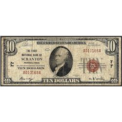 1929 $10 First NB of Scranton, Pennsylvania CH# 77 National Currency Note