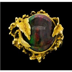 10KT Yellow Gold Ladies Black Opal Doublet Ring