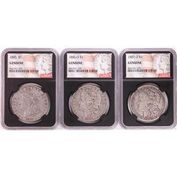 Lot of 1885, 1886-O, & 1887-O $1 Morgan Silver Dollar Coins NGC Genuine