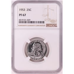 1953 Proof Washington Quarter Coin NGC PF67