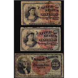 Lot of (3) Fourth issue Fractional Currency Notes