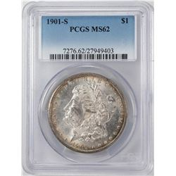 1901-S $1 Morgan Silver Dollar Coin PCGS MS62