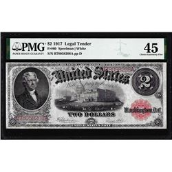 1917 $2 Legal Tender Note Fr.60 PMG Choice Extremely Fine 45