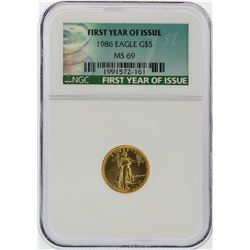 1986 $5 American Gold Eagle Coin First Year Issue NGC Graded MS69