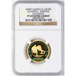 2000P Australia $100 Olympics Sprinter Commemorative Gold Coin NGC PF69 Ultra Cameo