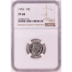 1952 Proof Roosevelt Dime Coin NGC PF68
