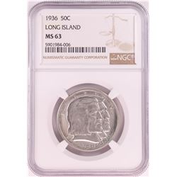 1936 Long Island Tercentenary Commemorative Half Dollar Coin NGC MS63