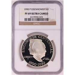 1990-P $1 Proof Eisenhower Commemorative Silver Dollar Coin NGC PF69 Ultra Cameo