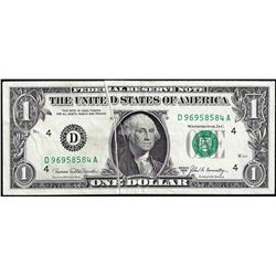 1969C $1 Federal Reserve Note Double Gutter Fold Error