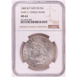 1880 8/7 VAM-11 Check Mark $1 Morgan Silver Dollar Coin NGC MS63 Hot 50