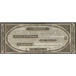 1800's $1 Bank of Windsor Vermont Obsolete Note