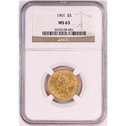 1901 $5 Liberty Head Half Eagle Gold Coin NGC MS63