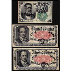Lot of (3) Fifth Issue Fractional Currency Notes