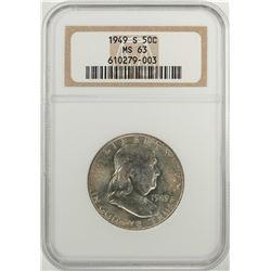 1949-S Franklin Half Dollar Coin NGC MS63