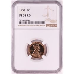 1951 Proof Lincoln Wheat Cent Coin NGC PF68RD